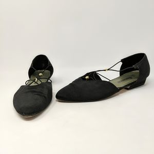 Vtg 90s Ellemenno Canvas Pointy Toe Flats Shoes